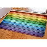 HUGS IDEA Rustic Old Barn Wood Rainbow Colors Doormat Welcome Door Mats Indoor Bathroom Rugs Entrance Floor Carpet Home Office Decor