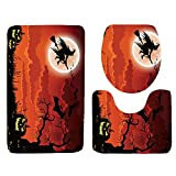Frog Fun Creative Bathroom Supplies | Halloween Witch Broom Toilet Seat Cover and Rug Bathroom Set Halloween Decor