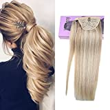 VeSunny 14inch Blonde Hair Extensions Ponytail Clip on Ponytail Extension Human Hair Color #18 Ash Brown Mixed #613 Bleach Blonde 80G/Set