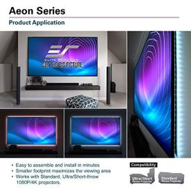 Elite-Screens-Aeon-Series-100-inch-169-8K-4K-Ultra-HD-Home-Theater-Fixed-Frame-EDGE-FREE-Borderless-Projector-Screen-CineGrey-Matte-Grey-Front-Projection-Screen-AR100H2-White