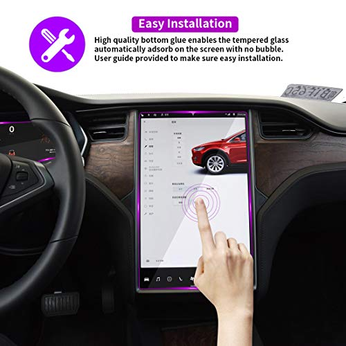 Image result for Tesla Model X/S Central Control LCD Instrument Protective Film, Tempered Glass Screen Protector, 9H Anti-Scratch Anti Fingerprint Bubble Free No Glare