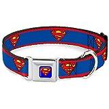 "Buckle-Down Seatbelt Buckle Dog Collar - Superman Shield/Stripe Red/Blue - 1"" Wide - Fits 11-17"" Neck - Medium"