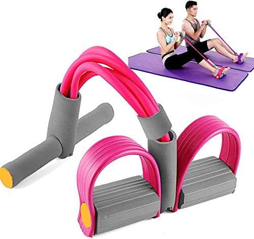 XmnDaue Pedal Resistance Band, [2020 Upgraded] 4-Tube Elastic Pull Rope Fitness Equipment, Bodybuilding Expander for Abdomen/Waist/Arm/Leg Stretching Slimming Train 3