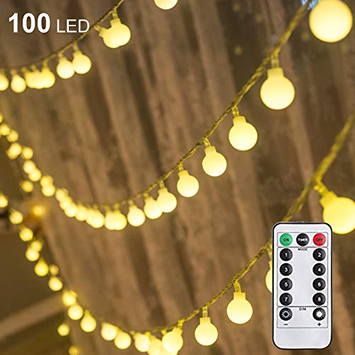 Twinkle Star 100 LED 33 FT Ball String Lights, Fairy String Lights Plug in with Remote Control Decor for Indoor Outdoor Party Wedding Christmas Tree Garden, Warm White