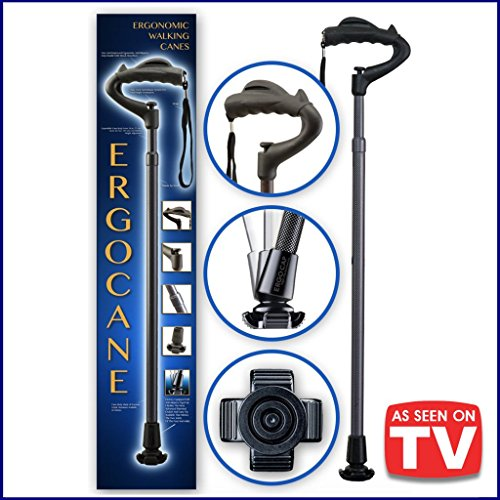 As Seen ON TV Ergocane by Ergoactives. Fully-Adjustable Ergonomic Cane (Charcoal Carbon)