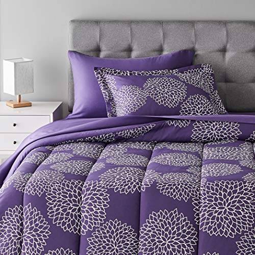 Amazon Basics 5-Piece Light-Weight Microfiber Bed-In-A-Bag Comforter Bedding Set – Twin/Twin XL, Purple Floral
