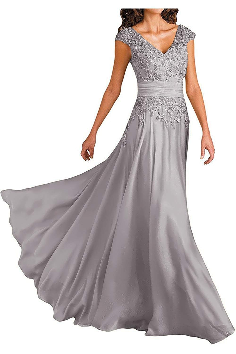 Women S Gray Color V Neck Cap Sleeve Lace Mother Bride Dress Long Maxi Formal Evening Gown