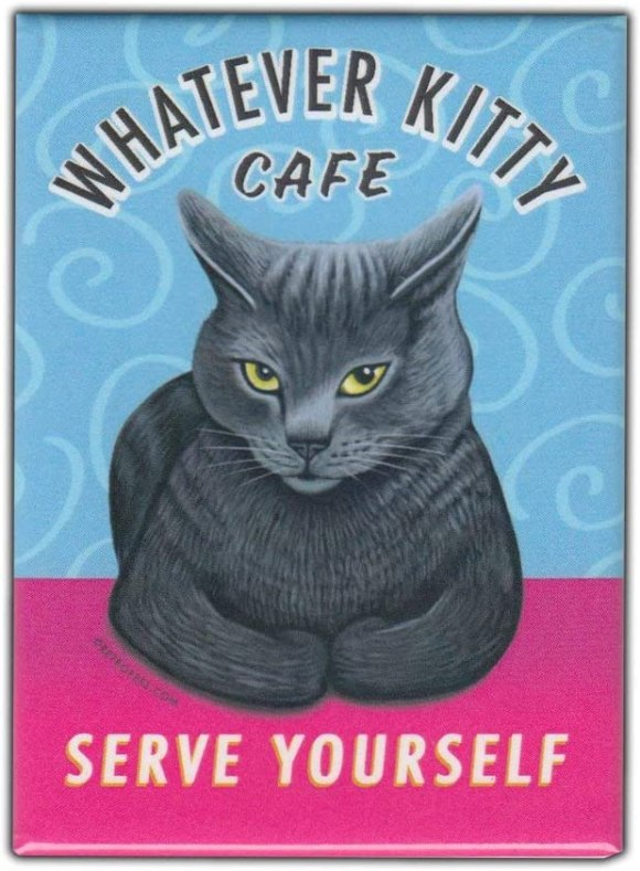 "Amazon.com: Retro Pets Magnet, Whatever Kitty Cafe, Grey Cat, Vintage  Advertising Art, 2.5"" x 3.5"": Kitchen & Dining"