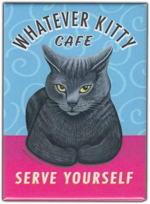 """Amazon.com: Retro Pets Magnet, Whatever Kitty Cafe, Grey Cat, Vintage  Advertising Art, 2.5"""" x 3.5"""": Kitchen & Dining"""
