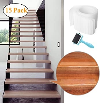 """32""""X4"""" Pre Cut Clear Non Slip Stair Treads Tape 15 Pack 
