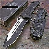 MTECH USA Mtech Ballistic Black Tanto Blade Rescue Pocket Knife New