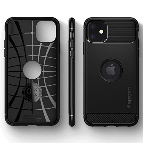 【Spigen】 iPhone 11 ケース 6.1インチ 対応 TPU 米軍MIL規格取得 耐衝撃 衝撃吸収 傷防止 カメラ保護 Qi充電 ワイヤレス充電 ラギッド・アーマー 076CS27183 (マット・ブラック)