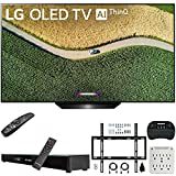 LG OLED55B9PUA B9 55' 4K HDR Smart OLED TV with AI ThinQ (2019) Bundle with Deco Gear Home Theater Soundbar, Flat Wall Mount Kit, Wireless Keyboard and 6-Outlet Surge Adapter with Night Light