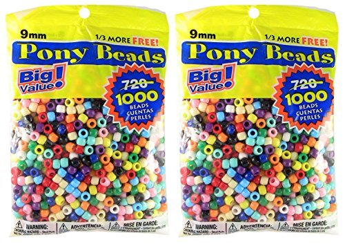 2-PACK - Pony Beads Multi Color 9mm 1000 ct Per Bag