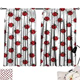 Abeocg Light Luxury high-end Curtains Ladybugs Ladybugs Pattern Bunch of Bugs Infinite Speckled Marked Insect Theme Playroom Kids Printing Insulation W55 xL45 Red White