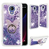 Alcatel Avalon V (Verizon), Alcatel TCL LX | 1X Evolve| IdealXTRA Clear Case, ZASE [Liquid Glitter Sparkle Bling] Cute Protective Cover Waterfall Floating Quicksand w/Phone Ring Holder (Purple)
