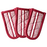 DII Cotton Stripe Quilted Pan Handle, 6x 3' Set of 3, Machine Washable and Heat Resistant for Everyday Kitchen Cooking and Baking-Barn Red