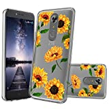 Clear MINITURTLE Case Compatible with ZTE Grand X4 / ZTE Zmax One/ZTE Blade Spark (Z971) [Flex Force Crystal Clear Case][Flower Series] Shock-Absorbing Protective Case - Sunflowers