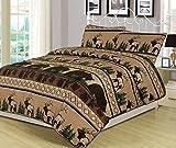 Queen Quilt Set 3 Piece Comforter Bear Elk Log Cabin Lodge Rustic
