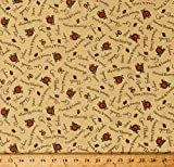 Cotton Thanksgiving Words Phrases Pumpkins Harvest Blessings Give Thanks Fall Autumn Yellow Cotton Fabric Print by The Yard (5954P-8B)