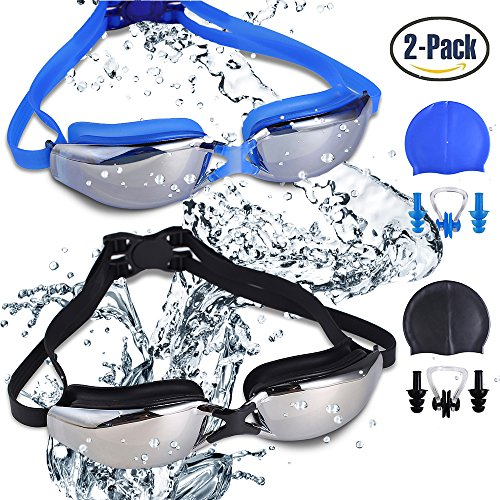 RIHACHAN Swim Goggles, Swimming Goggles Leak Free UV Protection Anti Fog, Swimming Glasses with Adjustable Shoulder Strap for Unisex Adult -Teenagers, with Swimming Caps, Nose Clips, Ear Plugs-2 pack