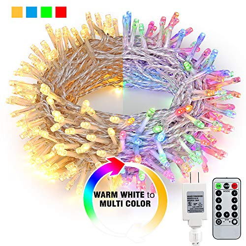 Brizled Color Changing Indoor String Lights, 82ft 200 LED 9-Function Warm White Multi Color LED String Lights, Dimmable 24V Safe Adapter Fairy Light with Timer&Remote for Easter Pastel, Party, Wedding