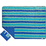Outdoor Blanket Extra Large Picnic Blanket Water-Resistant and Sand Proof Beach Blanket- Compact Mat Folds into a Tote Bag for Traveling-78'x 56', Blue Stripe