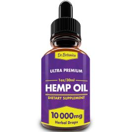 BIODENS Hemp Oil Drops, 10 000 mg, Natural CO2 Extracted, 100% Organic, Pain, Stress, Anxiety Relief, Reduce Insomnia, Vegan Friendly, Zero CBD, Zero THC