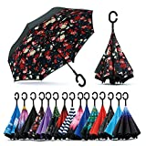 Spar. Saa Double Layer Inverted Umbrella with C-Shaped Handle, Anti-UV Waterproof Windproof Straight Umbrella for Car Rain Outdoor Use