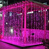 304 LED Window Curtain String Light Wedding Party Home Garden Bedroom Outdoor Indoor Wall Decorations (Pink)