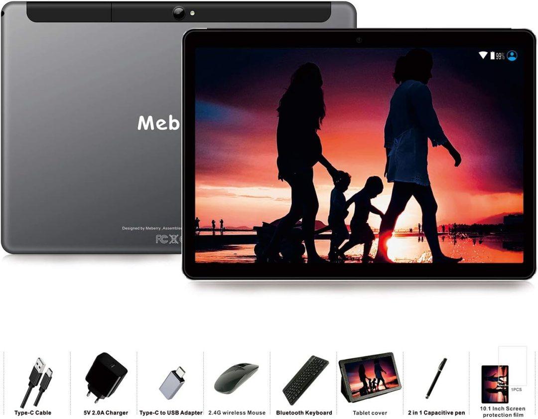 Tablette Tactile 10 Pouces - MEBERRY Android 9 Pie Tablettes avec 4 Go RAM | 64 Go ROM - Certification Google GSM - 4G Dual SIM - 8000mAh | WI-FI | Bluetooth | GPS | Type-C (5.0+8.0 MP Caméra) - Gris