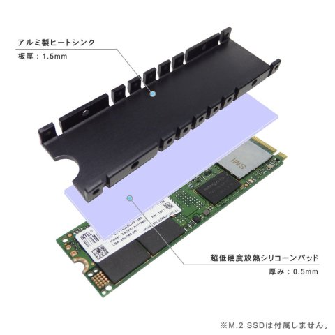 長尾製作所 M.2 SSD用ヒートシンク SS-M2S-HS01
