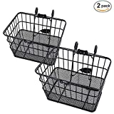 Ohuhu Rust-Proof Quick Release Front Handlebar Bicycle Lift Off Basket/Wire Mesh Bike Basket with Holder, Mesh Bottom, Black, 2 Pack
