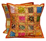 Krishna Mart India 2 Orange Embroidery Sequin Patchwork Indian Sari Throw Pillow Cushion Covers