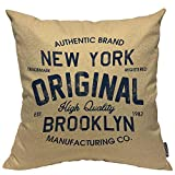 Mugod Original Lettering Decorative Pillow Case New York Brooklyn Vintage Throw Pillow Cover Home Decor Cotton Linen Square Cushion Cover for Couch Bed Sofa 18X18 Inch
