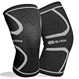 Blitzu Flex Plus Compression Knee Brace Men and Women for Joint Pain, ACL MCL Arthritis Relief Meniscus Tear Support for Running Gym Workout Recovery Best Sleeves Strap Patella 7mm 5mm (Medium, Black)