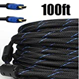 Premium Braided Nylon HDMI Cable Gold Series High Speed HDMI Cable with Ferrite Core for PS4, X-Box, HD-DVR, Digital/Satellite Cable HDTV 1080P Blue (100 Feet)