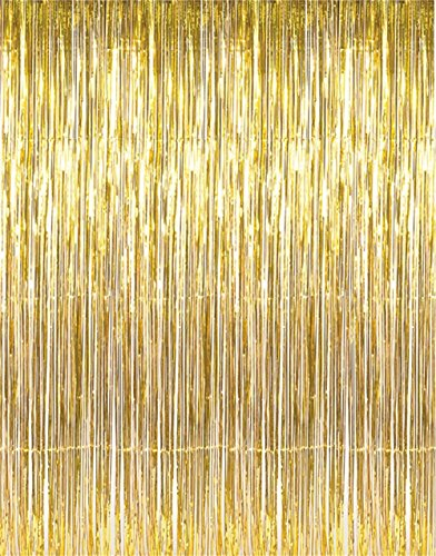 GOER 3.2 ft x 9.8 ft Metallic Tinsel Foil Fringe Curtains for Party Photo Backdrop Wedding Decor
