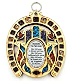 Anandashop-UK- Horseshoe Symbol Hand Fatima Wood Wall Hanging Plaque Hamsa Home Blessing With Semi Precious Stones Gift