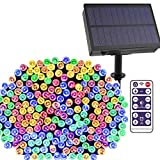 Solar String Lights Outdoor 500 LEDs Solar Christmas Lights Color Changing LED Xmas Lights 172ft 8 Modes Waterproof Decor LED Fairy Lights for Christmas Gardens Patio Wedding Party Festival(1 Pack)