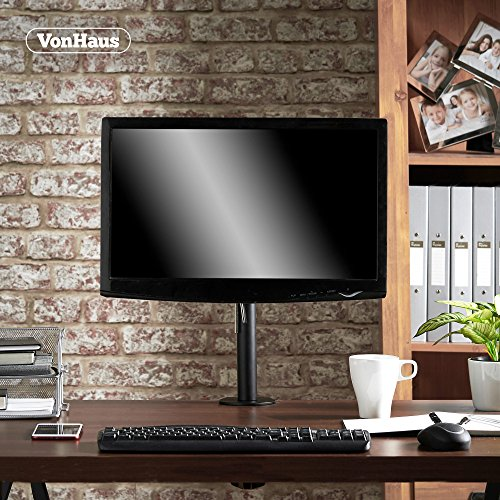 "VonHaus Monitor Mount for 13-32"" Screens – Single Arm Desk Stand Bracket with Clamp – Ergonomic 180° Tilt, 360° Rotation & 360° Swivel Arm – VESA Dimensions: 75×75-100×100"
