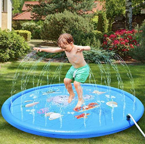 I FRMMY Newest Kids Outdoor Play Water Sprinkler Splash Mat- 67'' Diameter Water Game Toys, for Toddler, Children, Boys, Girls