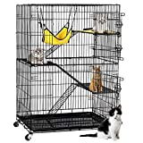 Yaheetech 4-Tier Kitten Cat Ferret Cage | Cat Playpen w/2 Front Doors & 3 Ramp Ladders & 3 Resting Platforms & Cat Bed & Locking Casters | Ideal for 1-2 Kitten | Cage Measures 32L x 22W x 48H inches