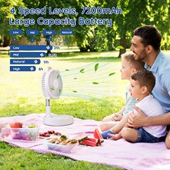 Battery-Operated-Portable-Standing-Fan-Primevolve-7200mAh-Rechargeable-USB-Personal-Floor-Fan-with-Adjustable-Height-4-Speed-Settings-Mini-Pedestal-Fan-for-Camping-Tent-Travel-White