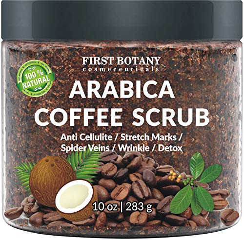 100% Natural Arabica Coffee Scrub with Organic Coffee, Coconut and Shea Butter - Best Acne, Anti Cellulite and Stretch Mark treatment, Spider Vein Therapy for Varicose Veins & Eczema 10 oz 1