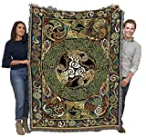 Pure Country Weavers   Ravens Panel Irish Celtic Symbols Woven Tapestry Throw Blanket with Fringe Cotton USA 72x54