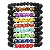 LOLIAS Chakras Bracelet 8 Pack Bead Gemstone Bracelet for Men Women Natural Stone Diffuser Bracelet Stretch Yoga Bracelets
