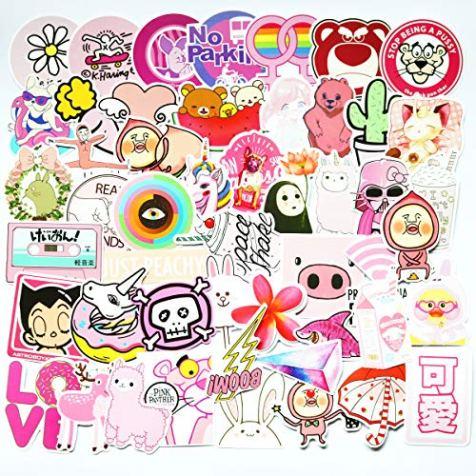 50pcs-Cool-Pink-Cute-Girl-Sticker-for-Laptop-Phone-Computer-PC-Water-Bottle-Bike-Helmet-Car-Motorcycle-Bumper-Luggage-Helmet-Skateboard-Snowboard-Waterproof-Graffiti-Hippie-Decals-Cute-Girl