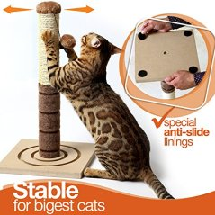 4-Paws-Stuff-Tall-Cat-Scratching-Post-Cat-Interactive-Toys-Cat-Scratch-Post-Cats-Kittens-Plush-Sisal-Scratch-Pole-Cat-Scratcher-22-inches-Beige