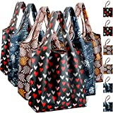Reusable Grocery Shopping Bags Foldable with Pouch, Heavy Duty Nylon Cloth Reusable Bags for Groceries, Shopping Trip (Dark Series, 6-pcs)